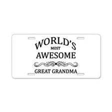 World's Most Awesome Great Grandma Aluminum Licens