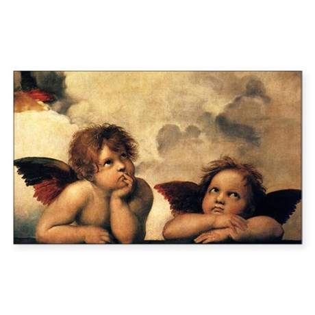 Angels by Raphael, Vintage Ren Sticker (Rectangle)