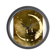Moon Sitting Wall Clock