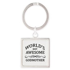 World's Most Awesome Godmother Square Keychain