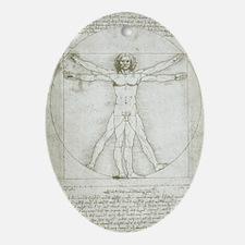 Vitruvian Man by Leonardo da Vinci Oval Ornament