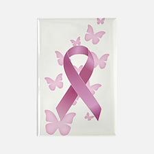 Pink Awareness Ribbon Rectangle Magnet (10 pack)