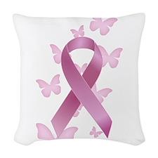 Pink Awareness Ribbon Woven Throw Pillow