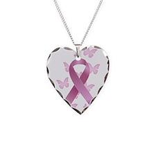 Pink Awareness Ribbon Necklace