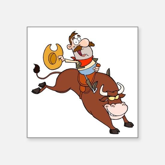 "bull rider riding cowboy ca Square Sticker 3"" x 3"""