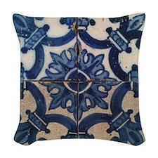 Portuguese tile de Braga Woven Throw Pillow