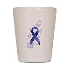 Blue Awareness Ribbon Shot Glass