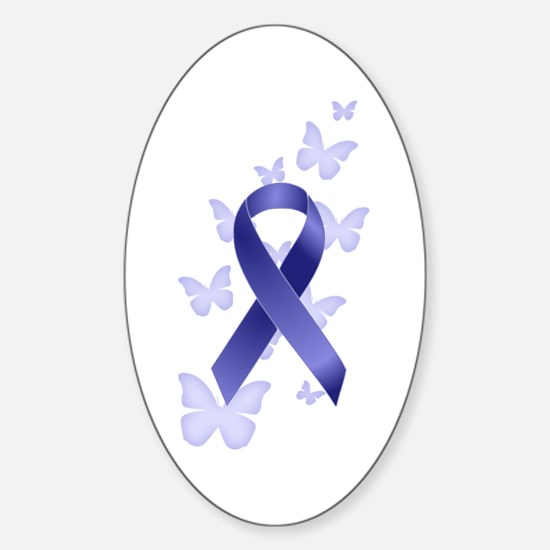 Blue Awareness Ribbon Sticker (Oval)