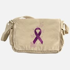 Purple Awareness Ribbon Messenger Bag