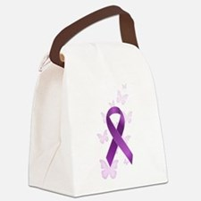 Purple Awareness Ribbon Canvas Lunch Bag