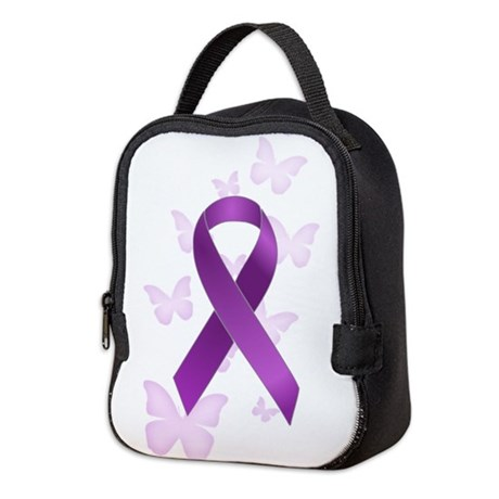 Purple Awareness Ribbon Neoprene Lunch Bag