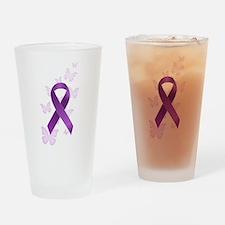 Purple Awareness Ribbon Drinking Glass