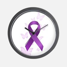 Purple Awareness Ribbon Wall Clock