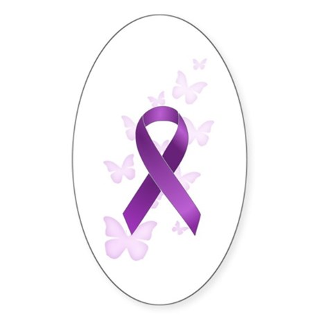 Purple Awareness Ribbon Sticker (Oval 10 pk)