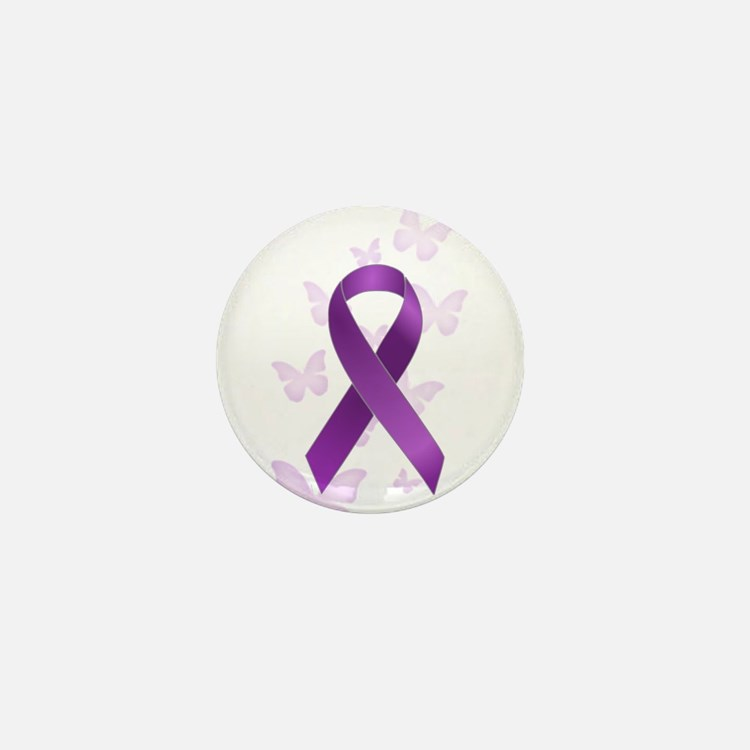 Purple Awareness Ribbon Mini Button