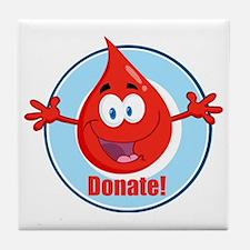 donate blood cartoon Tile Coaster