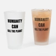 HUMANITY CAN KILL THE PLANET - black Drinking Glas