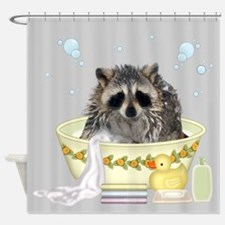 Raccoon Taking Bath Shower Curtain
