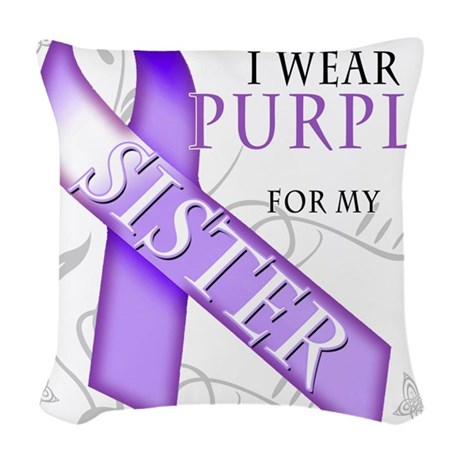I Wear Purple for my Sister.png Woven Throw Pillow