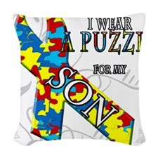 I Wear A Puzzle for my Son.png Woven Throw Pillow