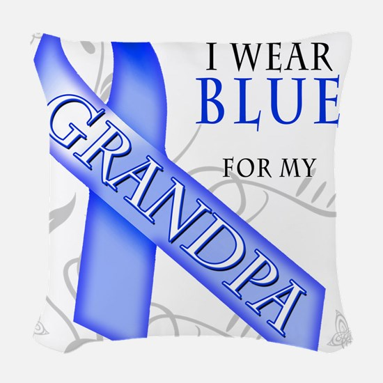 I Wear Blue for my Grandpa.png Woven Throw Pillow