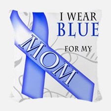 I Wear Blue for my Mom.png Woven Throw Pillow