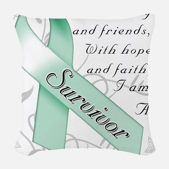 Ovarian Cancer Survivor Woven Throw Pillow