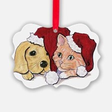 Cute Cartoon Christmas Puppy and Ornament