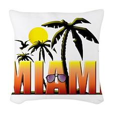 miami.png Woven Throw Pillow