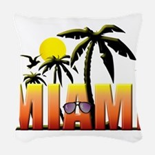 miami.png Woven Throw Pillow