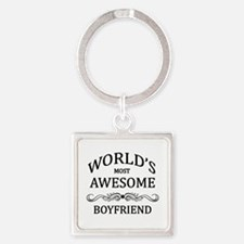 World's Most Awesome Boyfriend Square Keychain