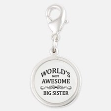 World's Most Awesome Big Sister Silver Round Charm