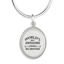 World's Most Awesome Big Brother Silver Oval Neckl