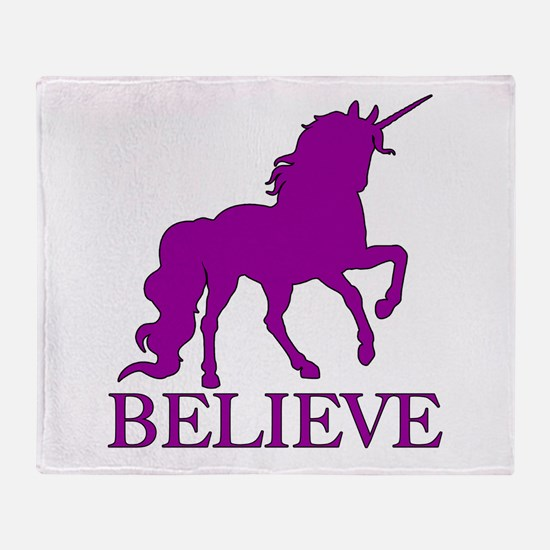 Believe Unicorn Throw Blanket