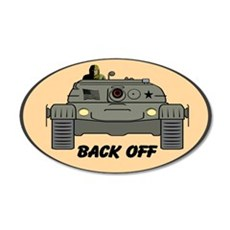Back Off 20x12 Oval Large Decal