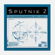 SPUTNIK 2 Blueprints Tile Coaster