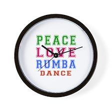 Peace Love Rumba Dance Designs Wall Clock