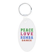 Peace Love Rumba Dance Designs Aluminum Oval Keych