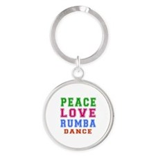 Peace Love Rumba Dance Designs Round Keychain