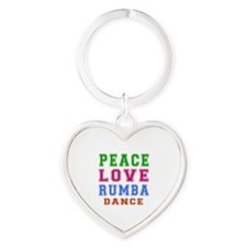 Peace Love Rumba Dance Designs Heart Keychain