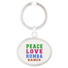 Peace Love Rumba Dance Designs Oval Keychain