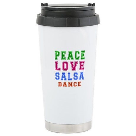 Peace Love Salsa Dance Designs Stainless Steel Tra
