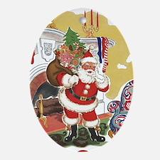 Vintage Christmas, Santa Claus Oval Ornament