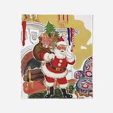 Vintage Christmas, Santa Claus Throw Blanket