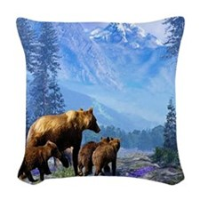 Mountain Grizzly Woven Throw Pillow