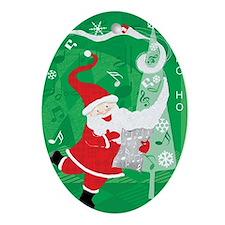Vintage Christmas, Singing Santa Cla Oval Ornament