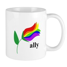 ally flower on clear with black text Mug