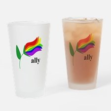 ally flower on clear with black text Drinking Glas