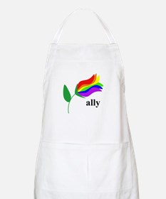 ally flower on clear with black text Apron