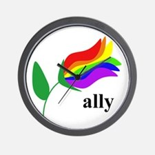 ally flower on clear with black text Wall Clock
